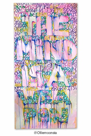 The mind is a weapon. 91 x 45,5 cm, acrylic on canvas, 2013.